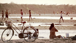 People Washing Clothes And Bathing In Irrawaddy River. Myanmar stock footage
