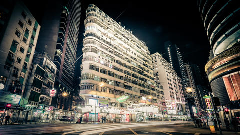 Night View Of Modern City Street With Moving Cars. Hong Kong. Time Lapse stock footage