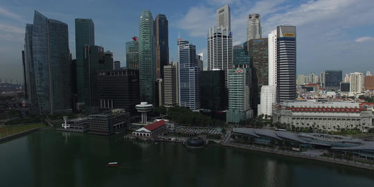 aerial sweep of Singapore CBD Footage