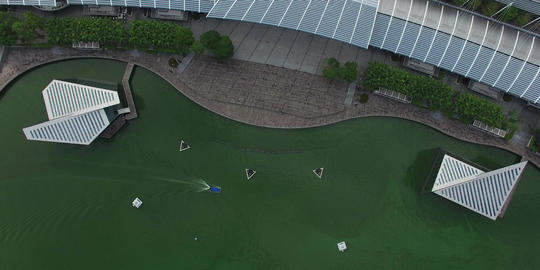 aerial birds eye of marina bay sands promenade Footage