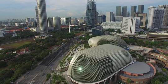 aerial sweep over esplanade Singapore Footage