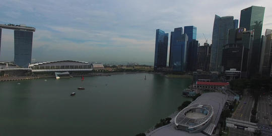 aerial 180 degree pan from Singapore esplanade Footage