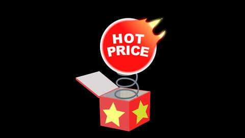 Hot Price Out Of The Box. Animated Element With Alpha stock footage