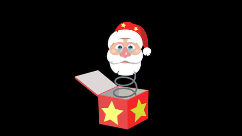 Santas Head out of the box. Animated element with Alpha Animation