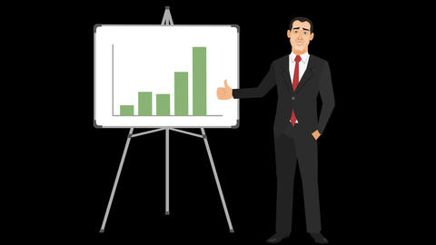 Animated Businessman With Increasing Bar Chart stock footage