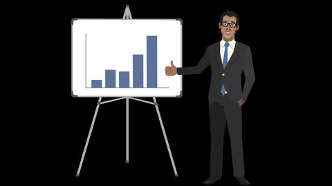 Animated Entrepreneur With Increasing Bar Chart stock footage