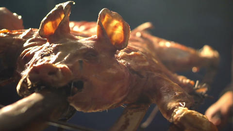 Roasted pigs, whole pork barbecue Footage