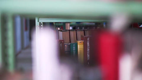 View of Bookshelves in university library Footage