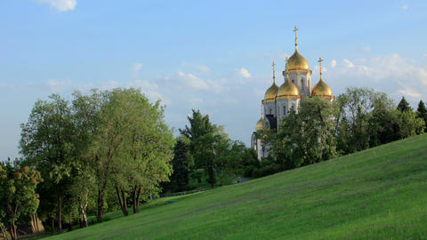 "Clouds over the orthodox temple of ""All Saints Church"" in Volgograd, Russia, Ful Footage"