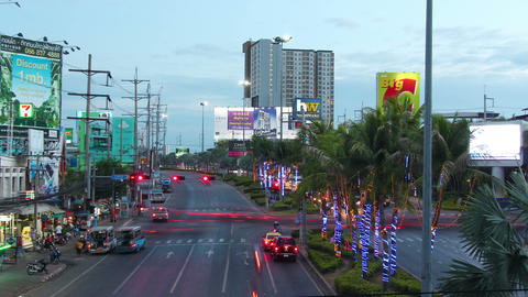 PATTAYA, THAILAND - AUGUST 8, 2015: Night traffic on the Sukhumvit Road, time la Footage