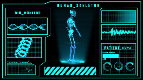 Science fiction medical design element human Skeleton or searching HUD panel Animation