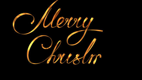 """Writing Golden Ribbon Text """"Merry Christmas"""" Over Black Background With Alpha Ma CG動画素材"""