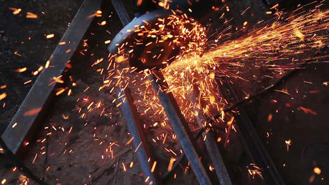 Sparks And Lights From Cutting Metal Footage