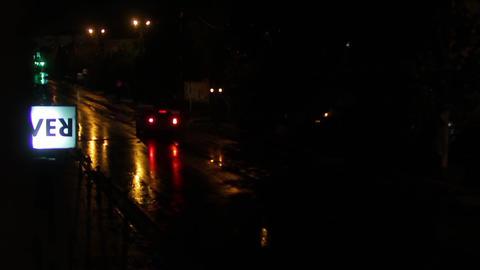 Car traffic on a rainy night 01 Footage