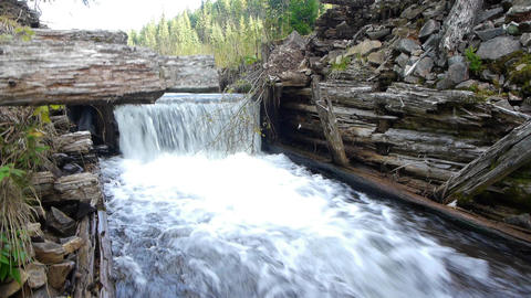 Cascade from an old dam abandoned 72c Footage
