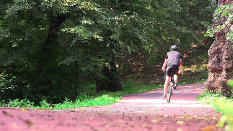 Cyclists in speed on a track landscaped in the woods 01b Footage