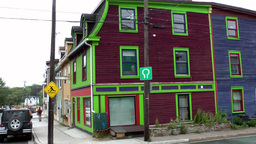 Canada Newfoundland St. John's 022 colorful houses at a street corner Footage