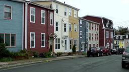 Canada Newfoundland St. John's 010 colorful wooden houses in residential distric Footage