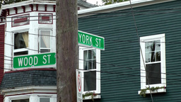Canada Newfoundland St. John's 014 Wood Street and York Street signs at wooden m Footage