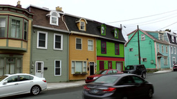 Canada Newfoundland St. John's 021 ascending street with colorful homes Footage