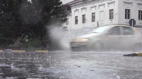 Car traffic on heavy rain 07 Footage