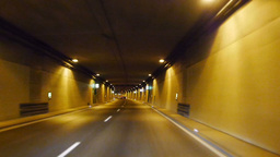 Car Tunnel Drive in Fast Motion Footage
