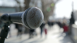 Microphone on Street Live Action