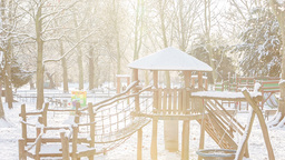 playground on snowy day Footage