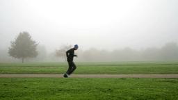 running at foggy park in frankfurt converted Footage