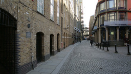Shad Thames street view with people commuting two Footage