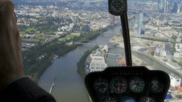 Skyline of Frankfurt from Helicopter with cockpit converted Footage
