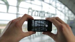Smart Phone Picture Of Frankfurt Airport Architecture Terminal stock footage