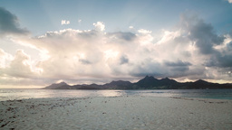 Sunset With Mountains In Mauritius stock footage