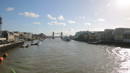 Tower Bridge and river thames on sunny day Footage