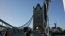 Tower Bridge Traffic In The Morning Zoom stock footage