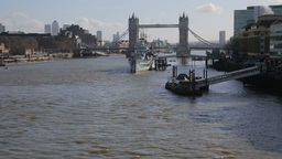 Tower Bridge with Boats on River Thames two Footage
