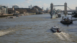 Tower Bridge with Boats on River Thames Footage