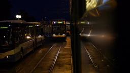 Tram travel at Night Footage