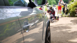 View Next To A Car With Golf Player In The Background stock footage