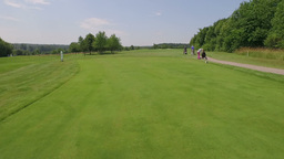 View Just Above The Grass Of A Golf Course stock footage