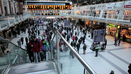 Waterloo station busy people one Footage