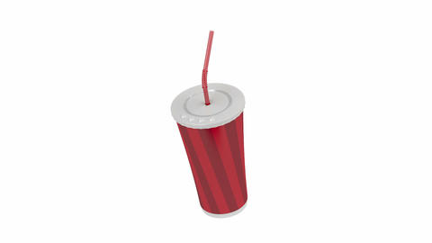 Paper cup with bendable straw Animation