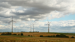windmills with cloudy sky Footage