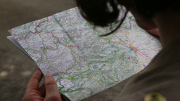 Woman Searching For Way On Map stock footage