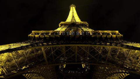 The Eiffel Tower in Paris. Night. France. 4K Footage
