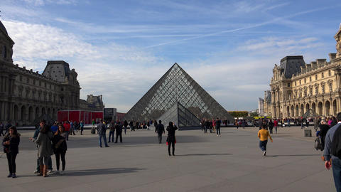 Louvre. The famous art museum in Paris. Pyramid. France. 4K Footage