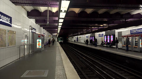 Metro In Paris. The Train In The Subway. 4K stock footage