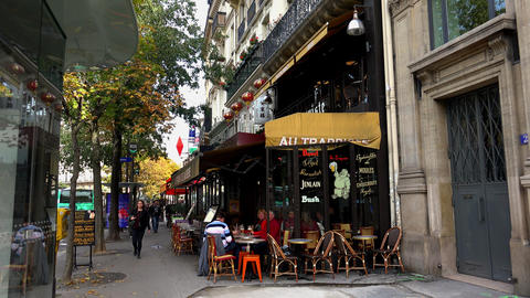 A Cozy Cafe In The Heart Of Paris. 4K stock footage