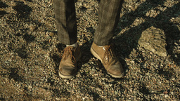 Traces of the shoe on a sand dune in the desert Footage