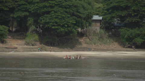 Ayeyarwady river, fishing villages along the river Footage
